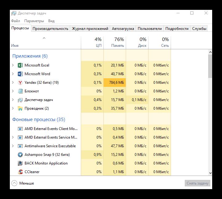 запущенные процессы windows
