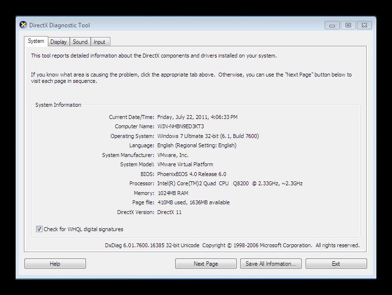 dxdiag windows 7
